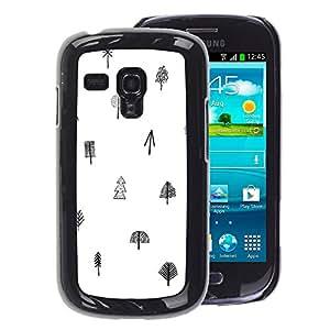 A-type Arte & diseño plástico duro Fundas Cover Cubre Hard Case Cover para Samsung Galaxy S3 MINI 8190 (NOT S3) (Tree White Black Pattern Minimalist Clean)