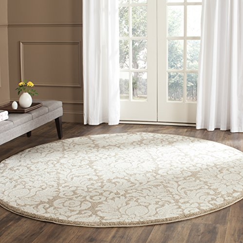 Safavieh Amherst Collection AMT427S Wheat and Beige Indoor/ Outdoor Round Area Rug (7' Diameter)