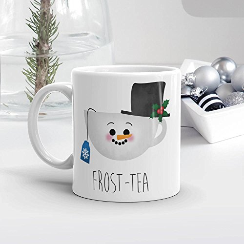 Funny Saying Mug, Frost-tea, Tea Lover Gift Merry Christmas Mugs Xmas Pun Gifts Happy Holidays Cute Frosty The Snowman Puns, 11oz, 15oz, gift