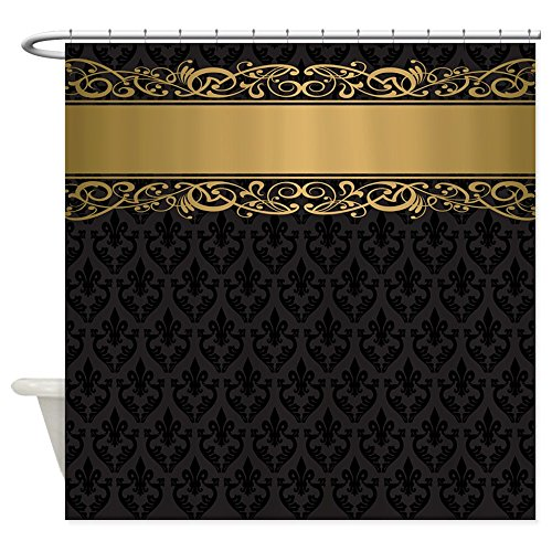 CafePress - Golden Stripe Vintage Damask - Decorative Fabric