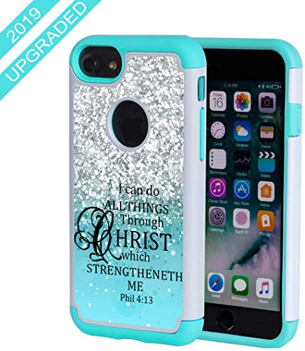 SKYFREE iPhone 7 Case,iPhone 8 Case Christian Quotes, Bible Verse Philippians 4:13 [Shockproof] Hybrid Dual Layer Armor Defender Protective Case Cover for iPhone 7 (2016) / iPhone 8 (2107)