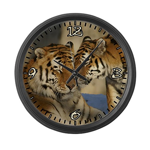(Large Wall Clock Nuzzling Tiger Love)