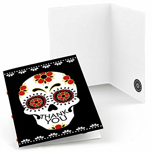 Day of The Dead - Halloween Sugar Skull Party Thank You Cards (8 Count)
