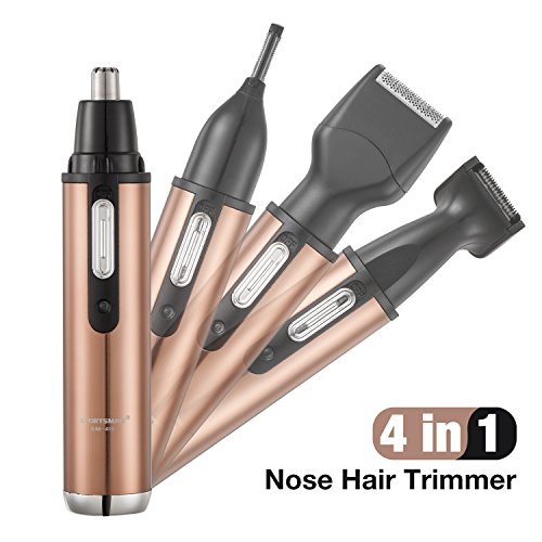 Nose Hair Trimmer, Stainless Steel,4 in 1 Grooming kit For Men, Nose Trimmer/Nose Ear Trimmer/Eyebrow Trimmer/Beard Trimmer/Sideburn Trimmer, Rechargeable &Waterproof,Nose clipper Wet/Dry [champagne]