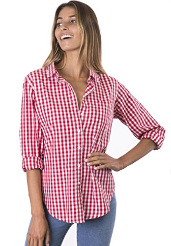 CAMIXA Women's Gingham Shirt Checkered Casual Long Sleeve Button Down Plaid Top S Red/White