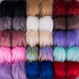 SIQUK 30 Pieces Faux Fur Pom Pom Balls Faux Fox Fur Pom Poms Fluffy Pom Pom with Elastic Loop for Hats Scarves Gloves Bags Accessories (15 Colors, 2 Pcs Per Color): more info