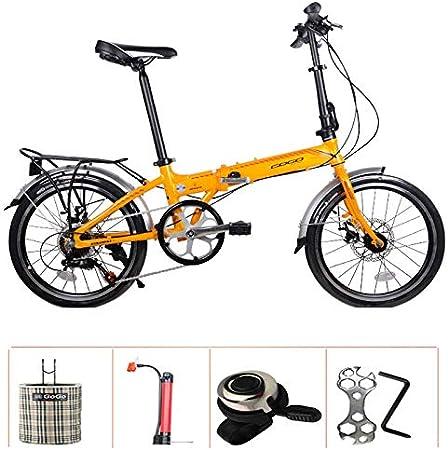 SYLTL Bicicleta Plegable Doble Freno de Disco 20in Aleación de Aluminio Urbana Unisex Portátil Folding Bike Absorción de Choque Bicicleta Plegable,Amarillo: Amazon.es: Hogar