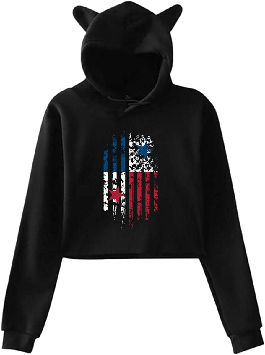 America Flag Panama Womens Kawaii Cat Ear Crop Tops Sweatshirt Pullover Sweatshirt