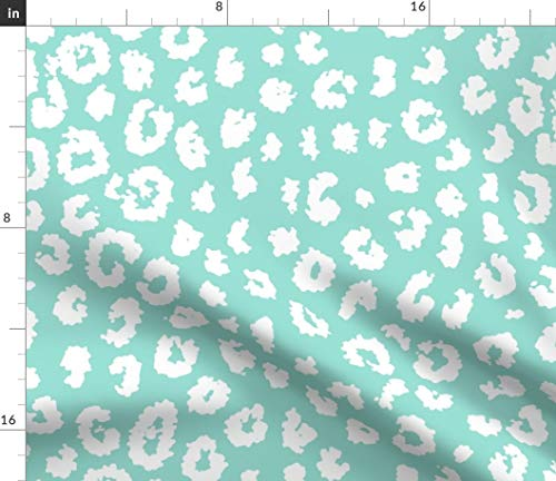 Spoonflower Leopard Print Fabric - Animal Print Mint Aqua Turquoise Baby Girl Nursery Cheetah by Domesticate Printed on Petal Signature Cotton Fabric by The Yard -