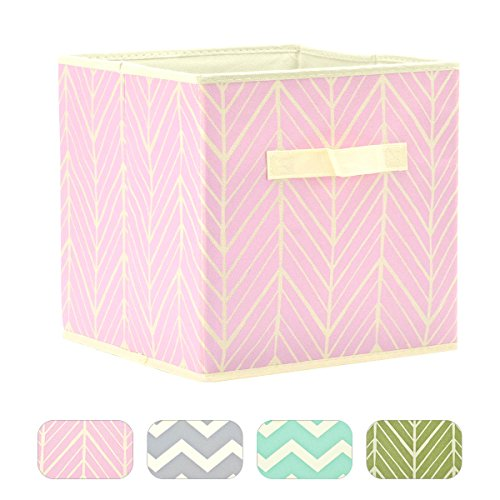 LOEL Foldable Cloth Storage Cube Basket Bins Organizer Containers Drawers (Pink Tree Stripes-New)
