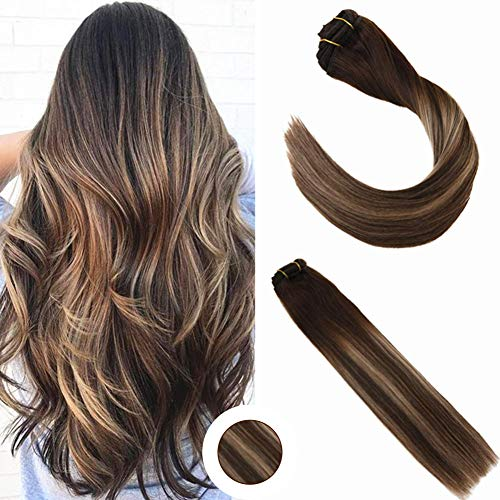 Ugeat 20 inch Thick Human Hair Clip in Extensions Two Tone Color Ombre Hair Extensions Brown #2 and Color #27 Blonde and Brown Color #2 Remy hair Clip Extensions 7Pcs 120Gram