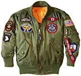 Alpha Industries Little Boys' MA-1 Bomber Jacket with Patches, Sage, XX-Small/4-5