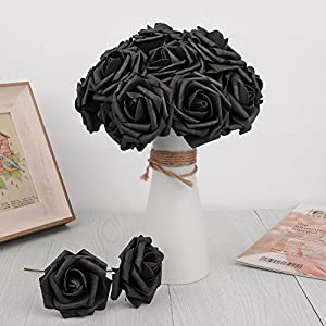 Artificial Flowers Dark Orange Roses Real Looking Fake Roses DIY Wedding Bouquets Centerpieces Arrangements Party Baby Shower Home Decorations 5