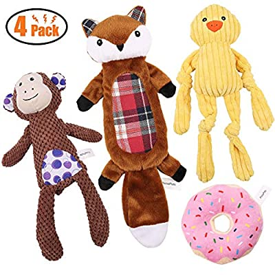 4-Pack-Dog-Squeaky-Toys-Three-Stuffed-Dog-Plush-Toy-and-One-Crinkle-No-Stuffing-Toy-Dog-Chew-Toys-for-Small-Medium-Large-Dog-Pets