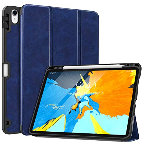 MoKo Case Fit iPad Pro 11 2018 with Apple Pencil Holder [Support Magnetically Attach Charging/Pairing Feature] - Slim Lightweight Smart Shell Stand Cover Case with Auto Wake/Sleep - Indigo