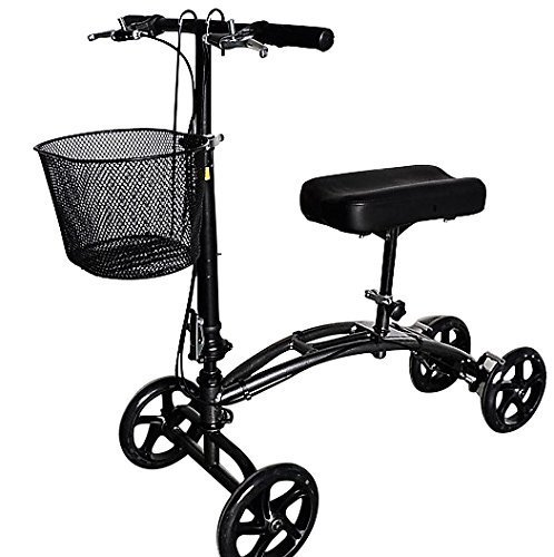Economy Crutch - Economy Knee Walker Scooter Steerable Crutch Replacement with Basket Black Brake