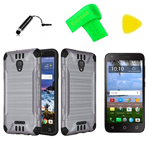 Brush Hybrid Cover Phone Case + Screen Protector + Extreme Band + Stylus Pen + Pry Tool For Alcatel Raven LTE A574BL (Brush Gray ()