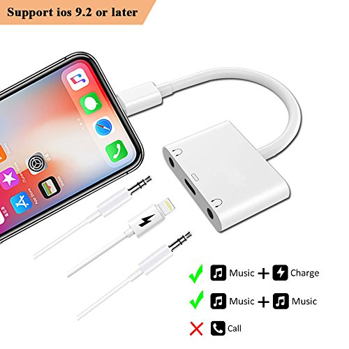 3 in 1 Dual DC3.5mm Audio + Charging Adapter - Lightning Converter / Splitter - Earphone Jack Audio Charger / Cable For iphone x 8 8plus 7 7plus 6 6plus For ipad Air / Pro -Support IOS11.2-White by UWECAN