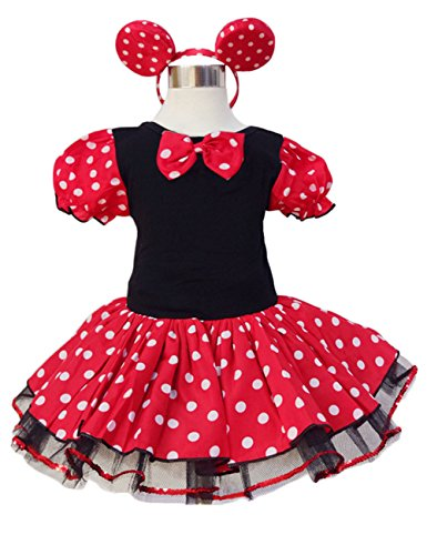 [GloryStar Girls Christmas Dress Dot Dancing Dress with Headdress Red 100cm] (Pixel Gloves)