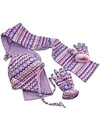 Girls and Baby Fair Isle Print Fleece Hat/Scarf/Mitten Set