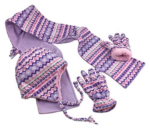 N'Ice Caps Girls and Baby Fair Isle Print Fleece Hat/Scarf/Mitten Set (Light Purple Fair Isle - Glove, 4-7 (Light Purple Mittens)
