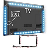 TOP-MAX Total 6.56FT 5V RGB 5050 LED Strip USB Connection Color Changing Decorative Light TV PC Computer Display Back Light Lighting Living Room Bedroom(2X40+2X60CM)
