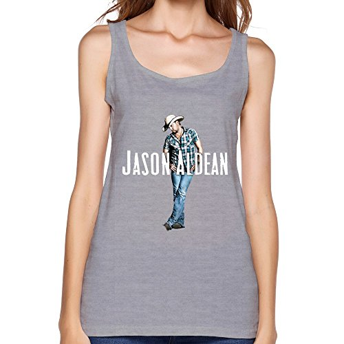 SY American Country Rock Singer Jason Aldean Cotton Tank Top Shirt For Women Gray XL