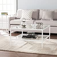Furniture Hotspot - Square Metal and Glass Coffee Table - White- 32 W x 32 D x 18 H