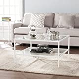 Black and White Glass Coffee Table Furniture HotSpot Square Metal and Glass Coffee Table - White- 32