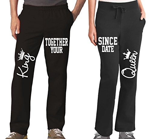 King Queen Funny Couples Pajama Pants & Bottoms - Matching Couple Outfits for Men & Women - Drawstring Sweatpants with Pockets - Family Pajamas for Him and Her - His Hers Sweat (Pants Couple Sets)