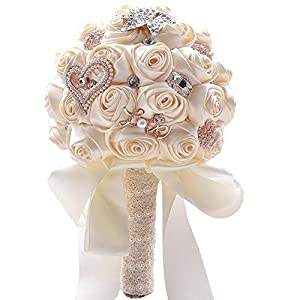 Jackcsale Romantic Wedding Bride Holding Bouquet Roses with Diamond Pearl Ribbon Valentine's Day Bouquet Confession (373 CRM)