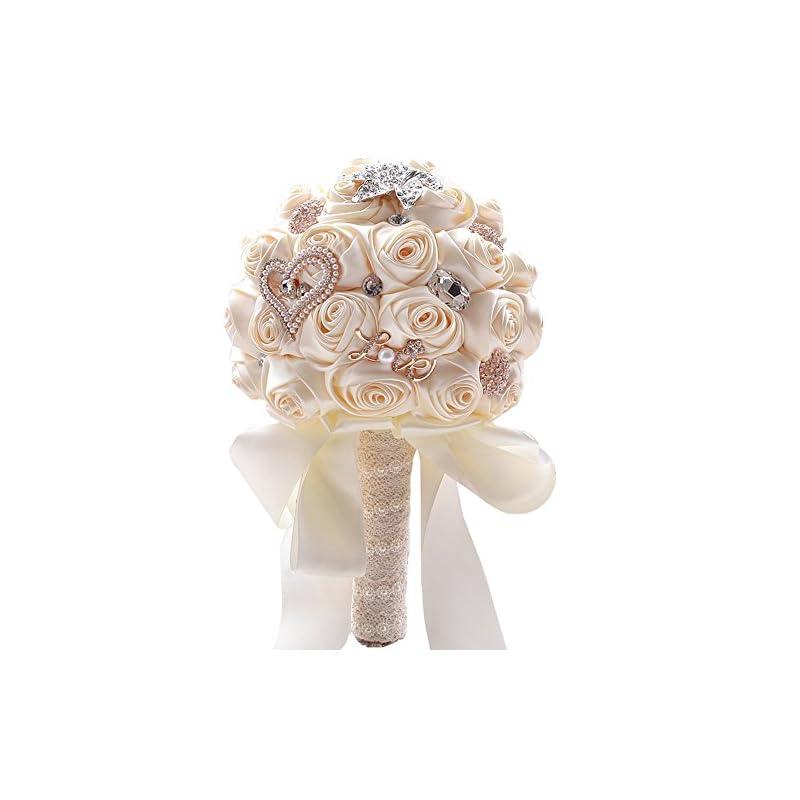 silk flower arrangements jackcsale romantic wedding bride holding bouquet roses with diamond pearl ribbon valentine's day bouquet confession (373 crm)