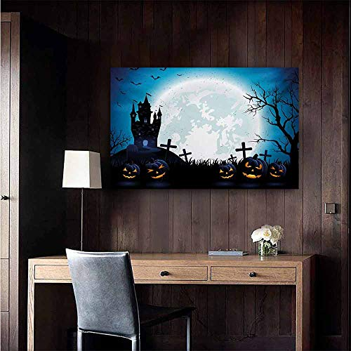 duommhome Halloween Art Oil Paintings Spooky Concept with Scary Icons Old Celtic Harvest Figures in Dark Image Holiday Print Canvas Prints for Home Decorations 32