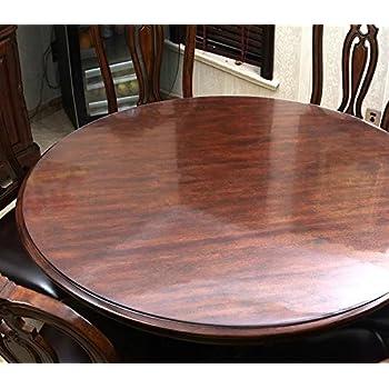Hiyoli Soft Glass PVC Tablecloth Round Plastic Table Cloth/Thickness  1.5mm/120 Cm