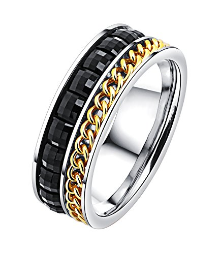 Rinspyre Men's 7mm Fashion Stainless Steel Ring with Spinning Chain and Paved CZ Stones Size (3 Person Halloween Costumes Guys)