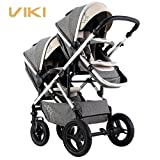 Multi-function Baby Stroller for Twins, Two-way Twins Stroller, Pushchair for 2 Kids, Bidirectional, Can Sit & Lie Down