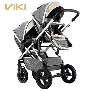 Cochecito de bebé multifuncional para gemelos, cochecito gemelos bidireccional, carrito para 2 niños, bidireccional, puede sentarse y acostarse: Amazon.es: ...