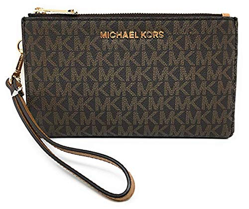 Michael Kors Jet Set Travel double Zip Wristlet (Brown 2018)