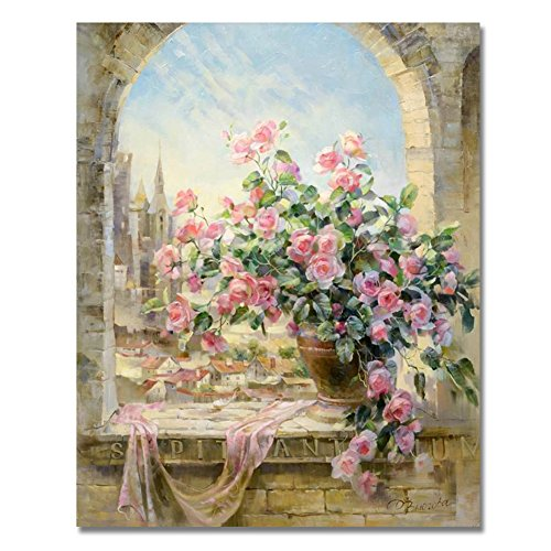 Rihe DIY Oil Painting Paint By Numbers Kits Mounted on Wood Frame with Brushes Painting Kits on Canvas for Adults Kids Flower Theme- Window Flowers Scene 16x20 Inch(With Wood Frame)