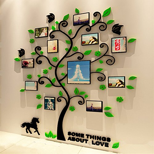 Spring Country 3D Family Tree Wall Sticker With Photo Frames Large | Black Branch Green Leaf home Decal | Family Wall Decor Home Improvement Memory With Children | Nursery Room Wall Stickers