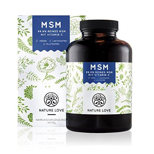 MSM Kapseln - 365 Stück im 6 Monatsvorrat. 1200 mg organischer Schwefel (Methylsulphonylmethan) Pulver mit Vitamin C. Frei von Zusätzen wie Gelatine oder Magnesiumstearat. Hochdosiert, vegan und hergestellt in Deutschland