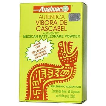Vibora de Cascabel 50 capsules, Authentic Mexican Rattlesnake Powder, Dietary Supplement