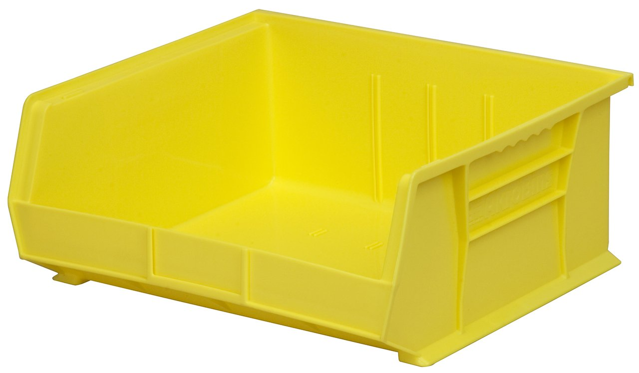 Akro-Mils 30235 Plastic Storage Stacking Hanging Akro Bin, 11-Inch by 11-Inch by 5-Inch, Yellow, Case of 6