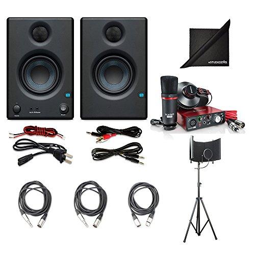"Price comparison product image Focusrite Scarlett Solo Compact USB Audio Interface w/PreSonus Eris E3.5 3.5"" Monitoring Speakers (Pair), AxcessAbles Recording Bundle and eStudioStar Polishing Cloth"