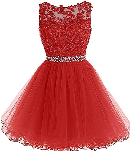 Dydsz Homecoming Dresses for Juniors Women Short Prom Party Cocktail Dress Plus Size D126 Red 16
