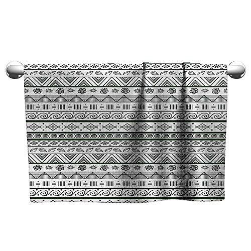 alisoso Tribal,Hand Towel Ethnic Aztec Pattern with Primitive Geometric Forms Triangles Background Bath Towels for Kids Hunter Green White W 20