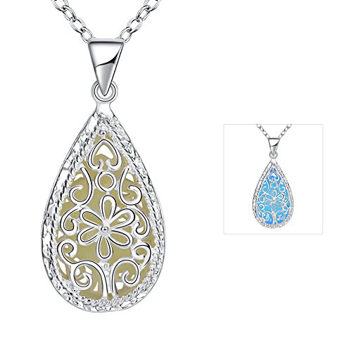 Naivo Glow in the Dark White Gold Plated Teardrop Filigree Necklace - 3 Colors (Glow In The Dark Eye Contacts)