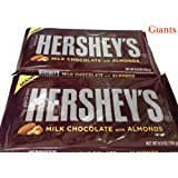 Hershey's Milk Chocolate with Almonds Giant Bars, 6.8-Ounce Bar (Pack of 2)