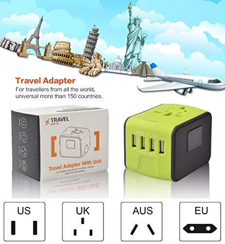 Universal Power Adapter Worldwide Wall Outlet AC Plug 4 USB Charging Ports with 3.4A Smart Power, All in One International Travel Adapter for US UK EU AUST Cell Phone Tablet Laptop Safety Fused, Blue by Poppin Kicks (Image #7)