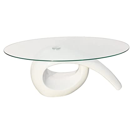 Festnight Tavolino Salotto Design in Bianco Lucido con Piano di ...